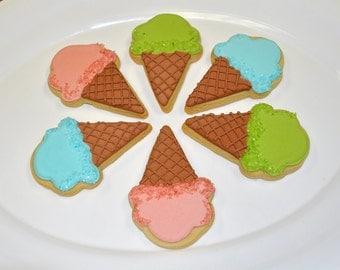 Ice Cream Cone Hand Decorated Sugar Cookies - 1 Dozen