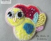 My Name is Sunshine bird brooch - crystal embellished felt (CC0112)