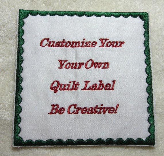 Custom Personalized Quilt Blanket Label Machine Embroidered