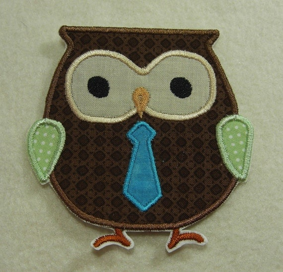 Owl with Neck Tie Fabric Embroidered Iron On Applique Patch