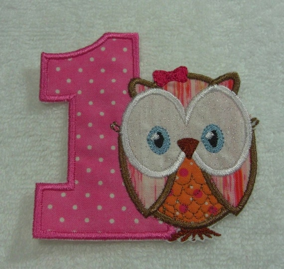 Number 1 Birthday Owl Fabric Embroidered Iron On or Sew On Applique Patch