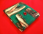 Alligator and Cats Bifold Wallet with Red Pearl Snap Closure