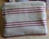 Red Striped Linen Zipper Pouch