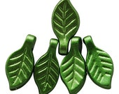 50 pcs small Green Acrylic Leaf Charms Spacers