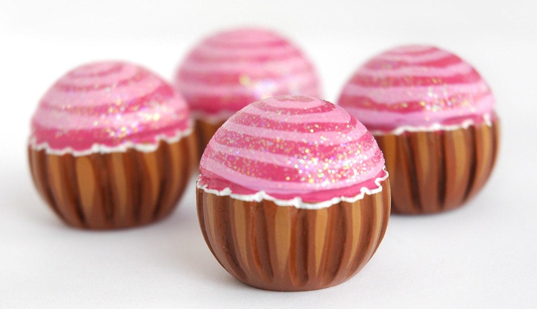 Set Of 4 Hand Painted Pink Cupcake Knob