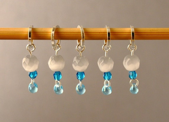 Little Rain Cloud Stitch Markers for Knitting