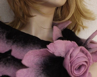 Nuno Felted Elegant Scarf with Rose Necklace