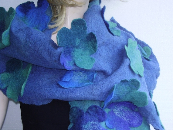 Black Friday -15%off- Emerald Caribbean Petrol Aquamarine Pastel blue Fashion 3D Designer Hand felted Wool  Scarf Shawl OOAK