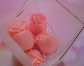 5 pink rose buds soap, valentine soap gift,  glycerin roses, floral soap, flower soap, summer soap