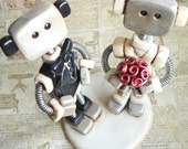 Robot Wedding Cake Topper - Robot Bride and Groom - Rustic Shabby Chic - READY TO SHIP - Polymer Clay, Paint & Wire