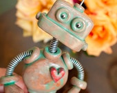 Patina Paul Garden Robot Sculpture - Will Guard Your House Plants From Evil - Clay, Wire, Paint
