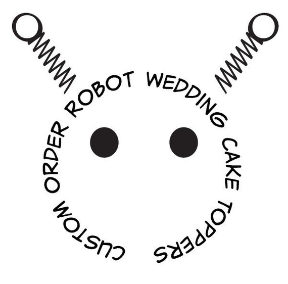 Custom Wedding Cake Toppers - Robot Bride,  Groom, and  Dog - RESERVED for Silverwings72