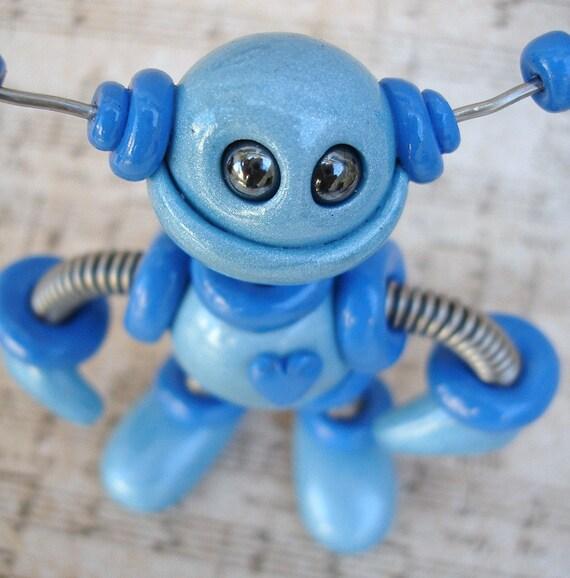 Blue Benson Mini Robot  Sculpture - Polymer Clay, Wire