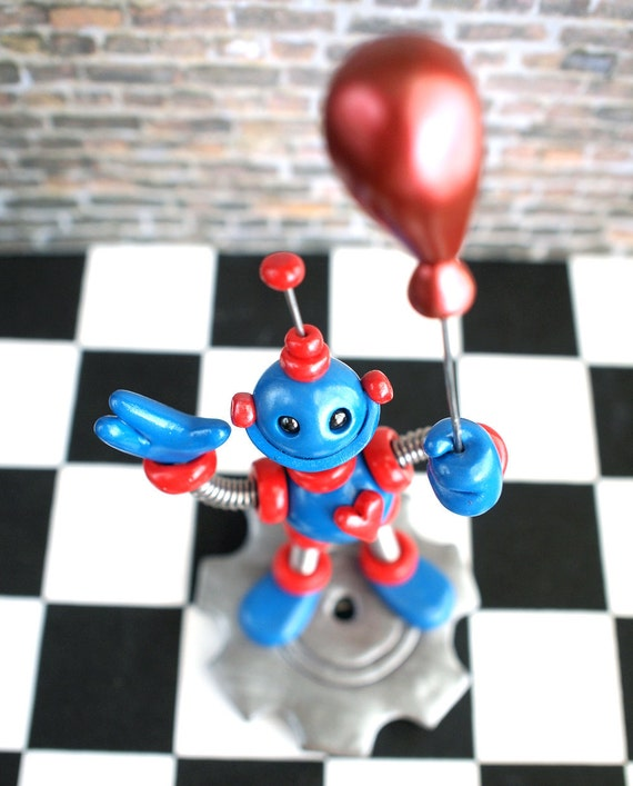 Robot Birthday Cake Topper - Blue Red Robot Holding Balloon - Clay, Wire