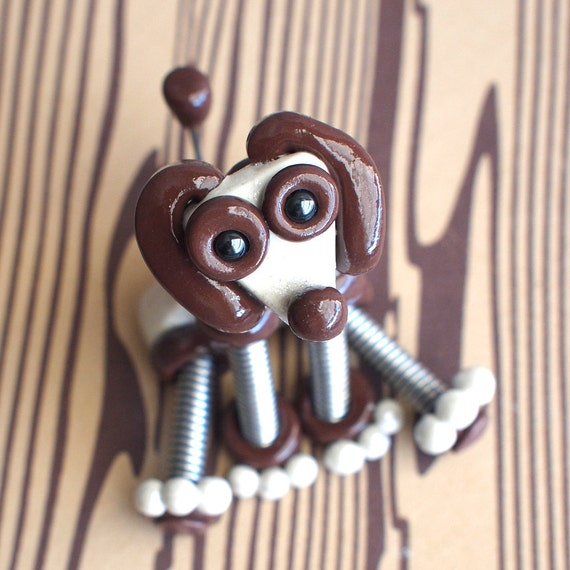 Mini Robot Dog Sculpture - White and Brown Mikey - Clay, Wire