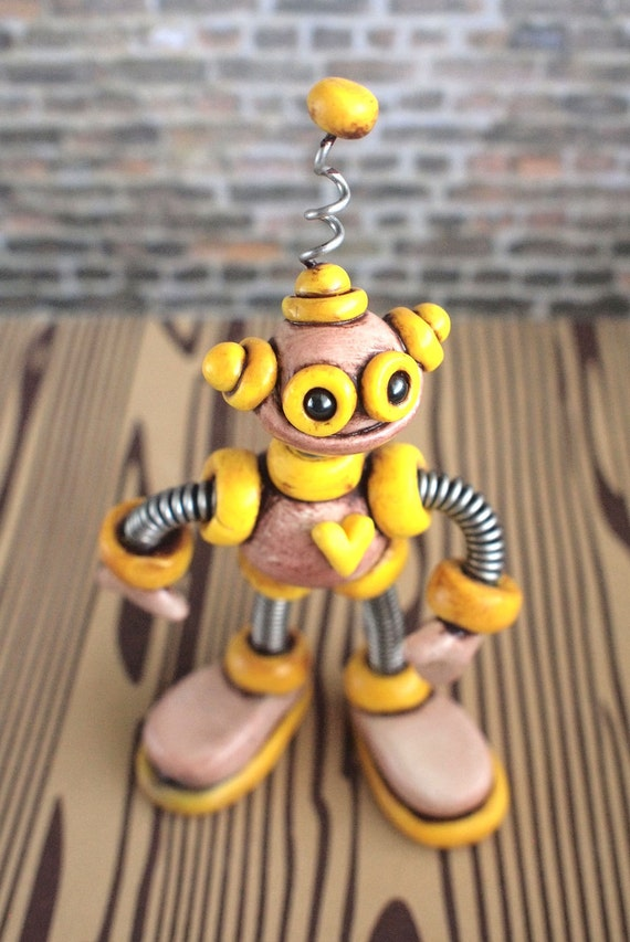 Yellow Yars Grungy Bot - Steals Candy - Mini Robot Sculpture - Clay, Paint, Wire