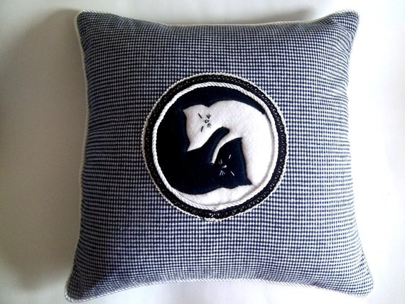 Ying Yang in Cat World throw pillow 17 x 17 inch