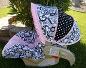 Night and Day 3 with Pink Ruffle Infant Car Seat Cover- Moves to Toddler