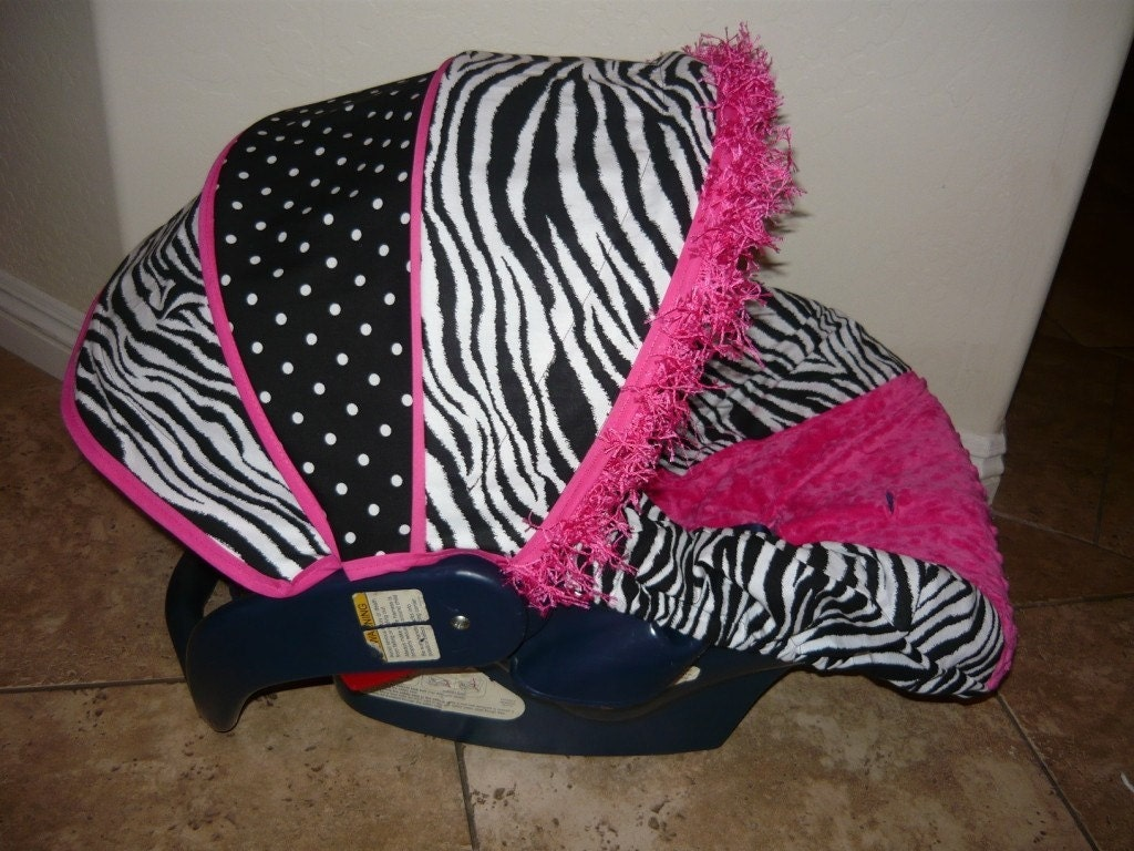 Zebra Polka Dots And Hot Pink Infant Car Seat Cover Moves To