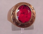 SALE...VICTORIAN ANTIQUE COPPER RED GLASS STONE RING Mens or Ladies Large Size 10...FREE SHIPPING