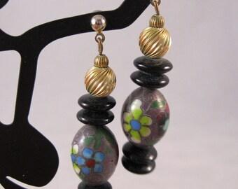 1970s Cloisonne Drop Earrings Dangling Bead Pierced Jewelry Vintage Jewellery