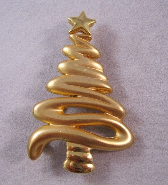Christmas Tree Brooch Goldtone Vintage