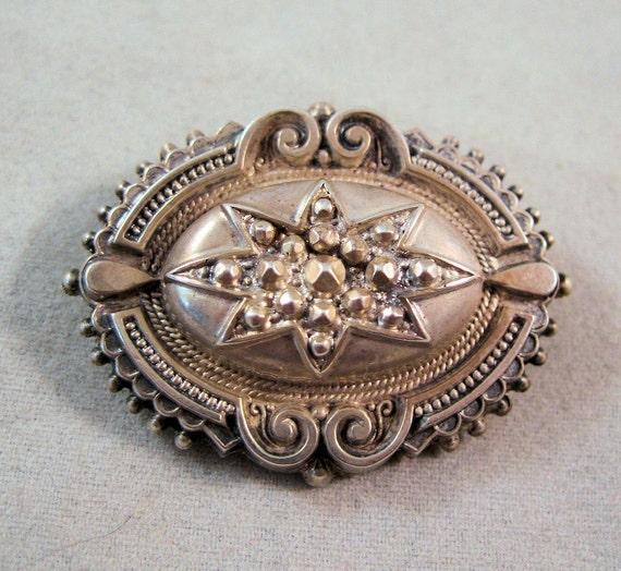 1897 Victorian Mourning Locket Brooch Sterling Etruscan Revival British Hair SALE