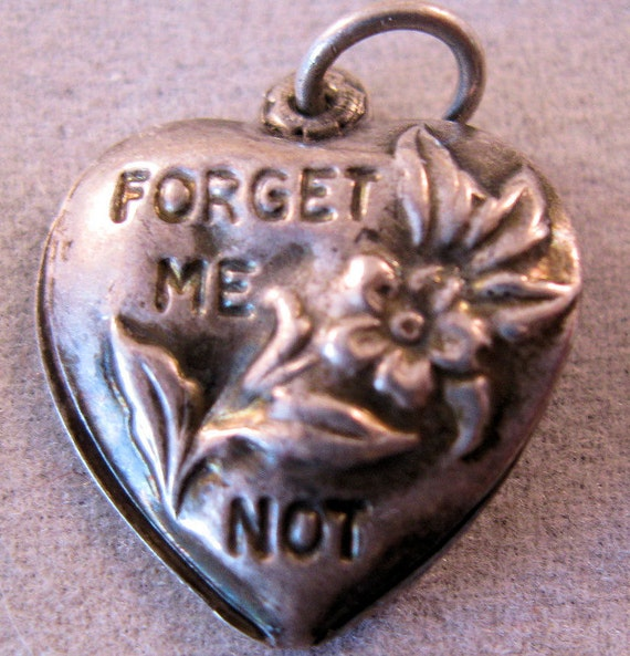 Antique Sterling Puffy Heart Charm Forget Me Not Free Shipping