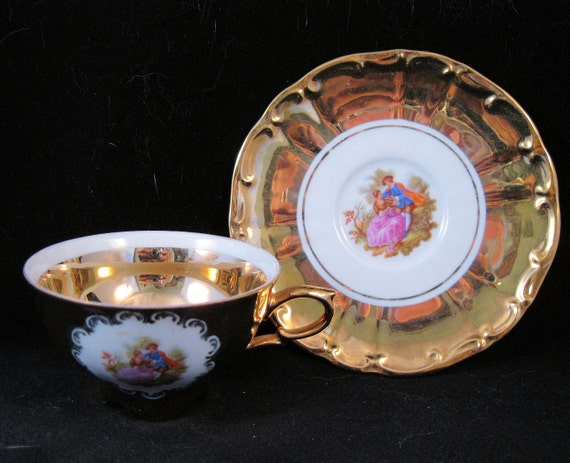 STW Bavaria Germany Courting Couple 24K Gold Leaf Tea Cup & Saucer