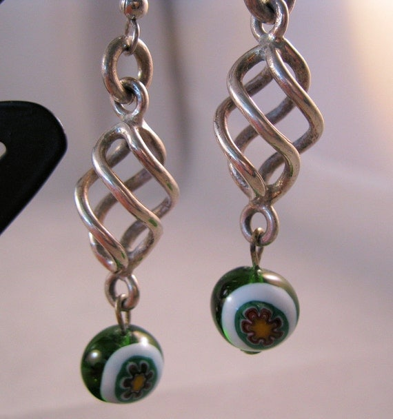 1970s Venetian Millefiori Sterling Earrings Art Glass Green Pierced Modern SALE