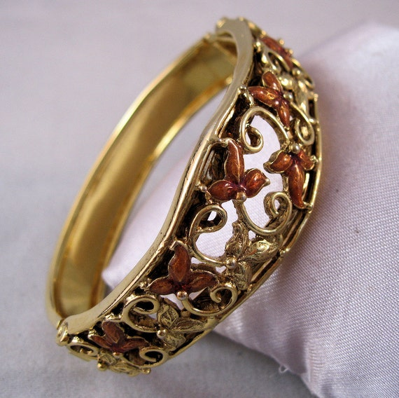 1970s Art Nouveau Style Bangle Bracelet Copper Enamel Open Work Filigree Hinged SALE