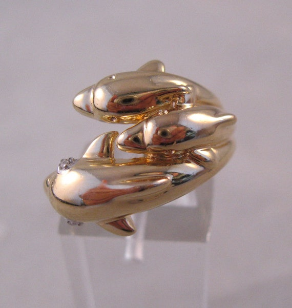 Dolphin Sterling Ring Family of 3 Gold Vermeil Size 7