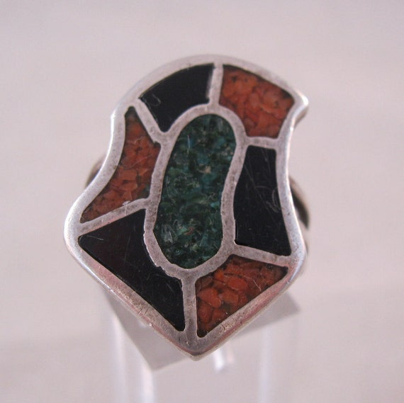 1960s Ring Sterling Onyx Coral Turquoise Chip Inlay Size 10 1/2 Unisex SALE