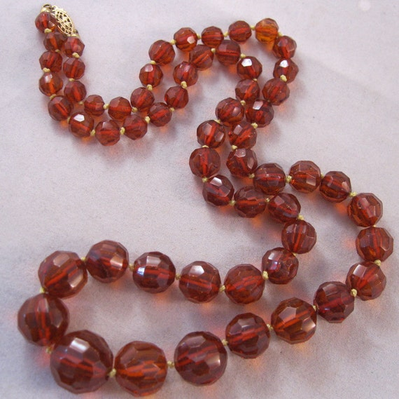 """Vintage Baltic Amber Necklace Rootbeer Graduated Faceted Beads 26"""" Long"""