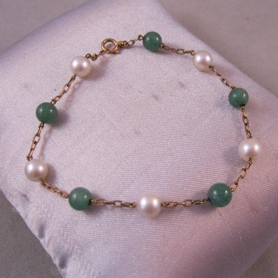 1960s 14K Gold Jade Pearl Bracelet SALE