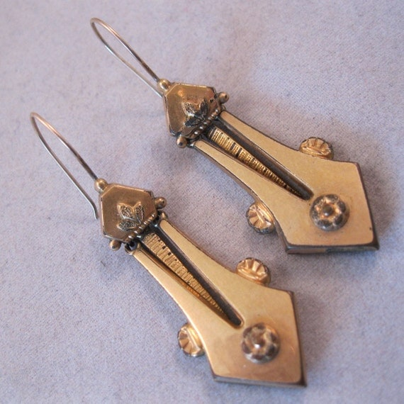 RESERVED 1800s Victorian Gold Filled Earrings Dangling Pierced Wire Antique SALE