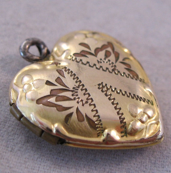 1930s Heart Locket 10K Gold Filled GF Pendant