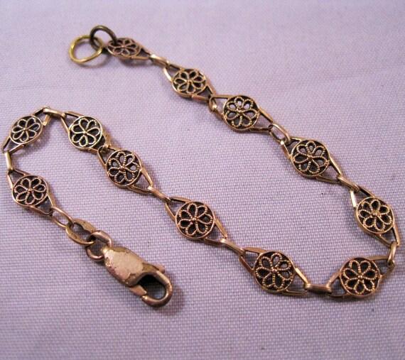Estate Italian 14K Gold Link Bracelet