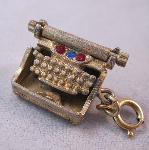 Vintage Monet Typewriter Charm with Movable Keyboard & Crystals