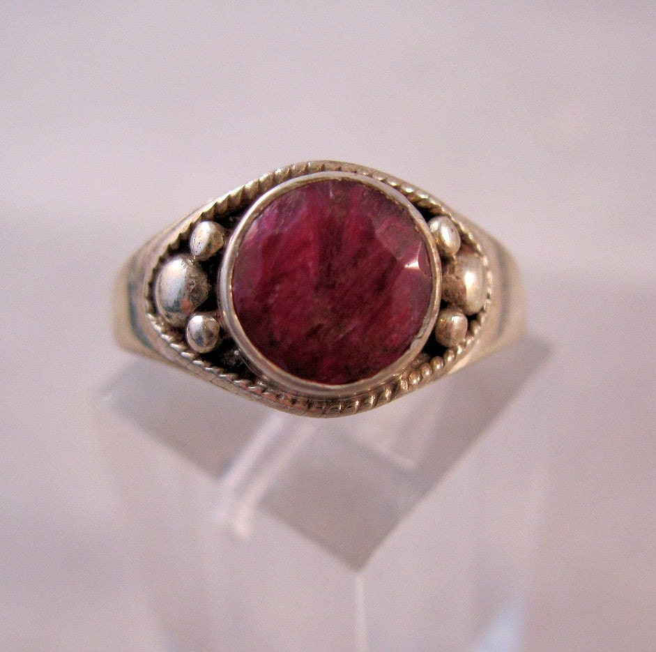 Vintage Genuine Ruby Sterling Silver Ring Size 7 Free Shipping