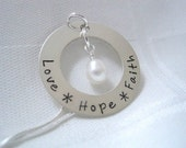 Charm Necklace, Hand Stamped, Personalized, Encouragement Necklace - Love, Hope, Faith