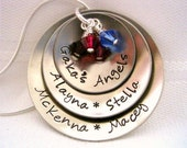 Personalized Hand Stamped Grandma Necklace, Family Necklace