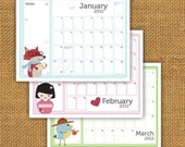 2011 Printable Write In Kawaii Calendar with Stickers