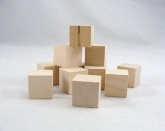 "One inch 1"" wooden block, unfinished wood blocks, wooden cube, wood cubes set of 24"