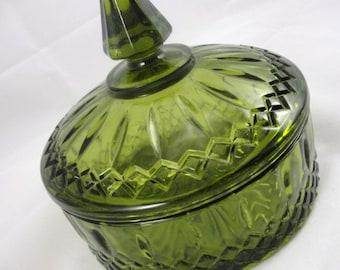 Olive Green Princess Candy Box Indiana Glass