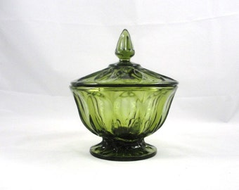 Vintage Anchor Hocking Fairfield Green lidded Candy Dish
