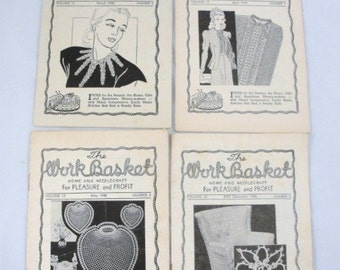 Vintage WorkBasket Pattern books 1948 set of 4 antique pattern booklets