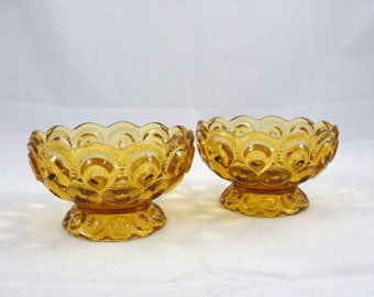 Vintage L. E. Smith Moon and Stars amber compote bowl set of 2, vintage amber glass, vintage candy dish