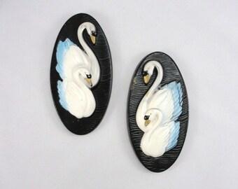 Vintage Chalkware Swan plaques Miller Studios 1985