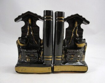 Vintage Redware Wishing Well bookends Japan, vintage bookends, wishing well bookends, library decor